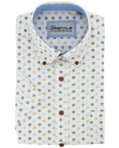 GCM Originals big men fit Hemd Dessin mit Punkten blau